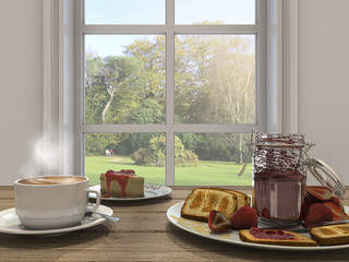 3d rendering nice coffee set and cake near the window with sun glare