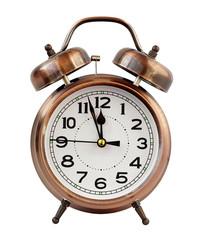 Retro alarm clock at twelve o'clock, isolate.