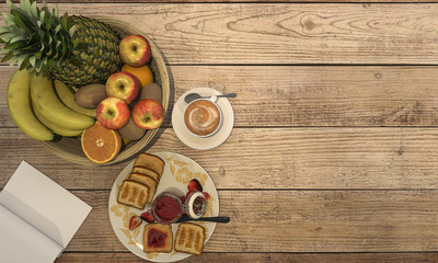 3d rendering coffee set with some jam and bread and fruit for breakfast on wooden table