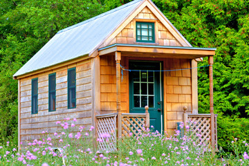 View of tiny house on wheels