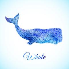 Blue Watercolor whale illustration
