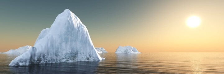 Iceberg and sun. Sunset on the ice. panorama of the northern landscape.