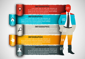 Businessperson and Paper Tear Element Business Infographic with Grayscale Icon Set