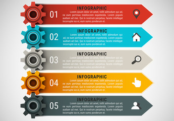 Small Gear and Arrow Element Business Infographic with Grayscale Icon Set