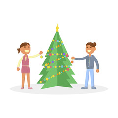 Happy family concept. Christmas Eve, children, son, daughter, baby. Christmas tree in Flat design. Cartoon characters illustration vector eps10