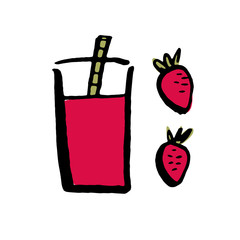 Hand drawn strawberry smoothie on the white background. Vector illustration.