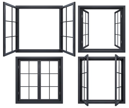 Collection of black window frames isolated on white