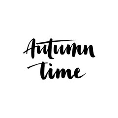 Autumn time. Seasonal vector illustration of handwritten Autumn time lettering composition