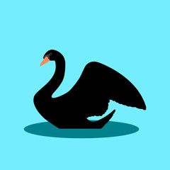 swan on the water vector illustration style Flat