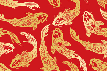 Seamless pattern with koi carp fish. Pond. Background in the Chinese style. Hand drawn.