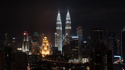 Night cityscape of Kuala Lumpur with famous Petronas Twin Towers, Malaysia