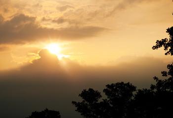 Deurstickers Kangoeroe Morning sun through storm clouds
