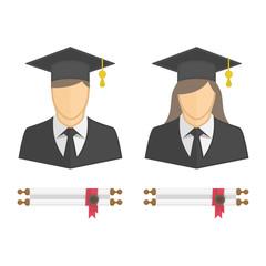 Graduates in gown and graduation cap icon.