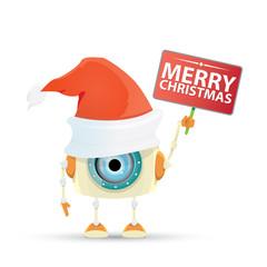 Cartoon Cute Robot elf with santa red hat.