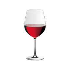 Red wine glass, realistic vector illustration, isolated on white