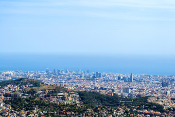 Top view of cityscape of Barcelona, Spain