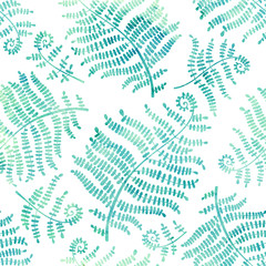 Vector seamless pattern with  watercolor silhouettes of fern on a white background