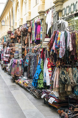 Clothing and souvenirs on arab market