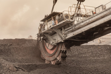 Giant bucket wheel excavator for digging the brown coal, Czech Republic