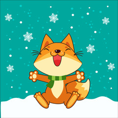 Small vector Fox. Fox Sitting Vector Illustration. Fox In Winter. Snow Falling. Small Fox Plush. Small Fox Stickers.