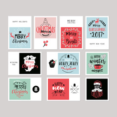 Christmas holiday greeting card set with typography and  hand dr