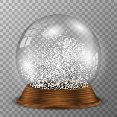 Crystal snow globe on wooden pedestal. Transparent vector snowglobe with wood decoration.