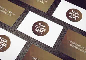 Business Card Mockup with Geometric Design Element