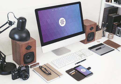 Desktop Computer on a Neat Desk with Gadgets Mockup 2