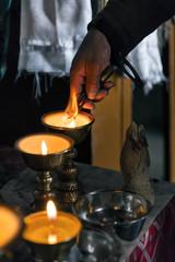 Preparations for morning prayer in Korzok monastery in Ladakh, India. Korzok is a Tibetan Buddhist monastery located in the Korzok village, on the northwestern bank of Tso Moriri lake