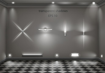 Set of different modern lamps with transparent shoulders and shadows. Vector graphics
