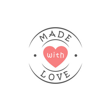 Round made with love logo with heart silhouette