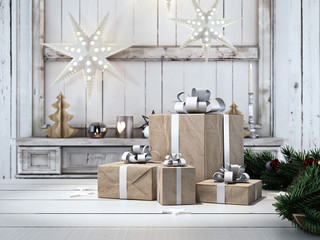 beautiful gift with Christmas ornaments.nordic style. 3d rendering