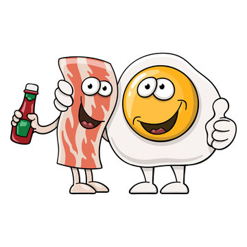 Funny cartoon fried egg next to bacon with ketchup bottle