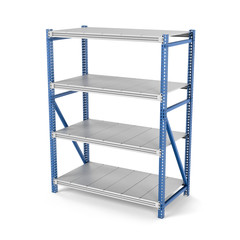 Rendering of four-storey metal rack isolated on the white background.