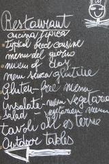 Menu Italian restaurant in the center of Lecce