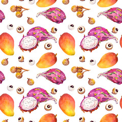 Exotic fruit seamless tropical pattern: mango, litchi. Watercolor