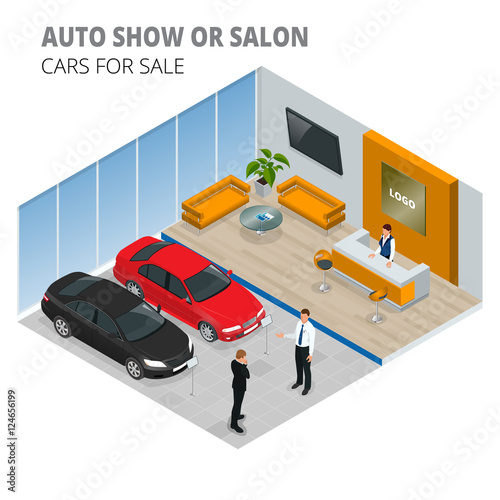 Commercially Colorful Cars Stand In Car Shop Vector D Flat - Car show display stand for sale