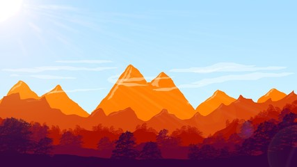 mountains illustration with trees and clouds