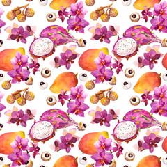 Exotic fruit seamless tropical pattern: mango, litchi and orchid flowers. Watercolor