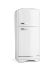 Retro white fridge refrigerator isolated