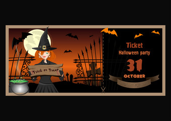 Ticket to Halloween party. October 31. Halloween design with a cute young witch, graveyard, full moon, a boiling cauldron, full moon. Trick or treat. Vector illustration