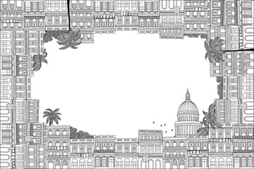 Greeting card frame with hand drawn Cuban houses of Havana