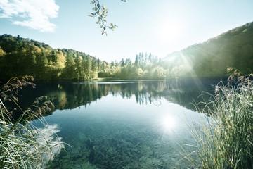 lake in forest, Croatia, Plitvice