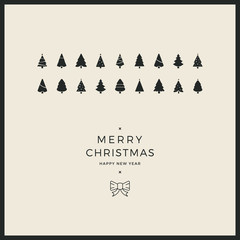merry christmas minimal card trees ribbon