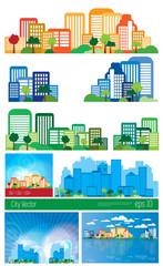 Big set of urban landscape. Vector