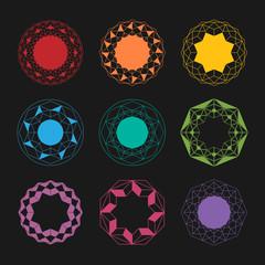 Colorful Mandala pattern set