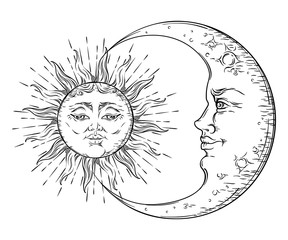 Antique style hand drawn art sun and crescent moon. Boho chic tattoo design vector