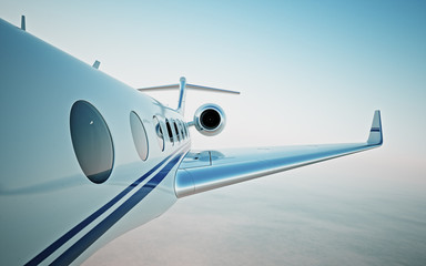 Closeup of realistic photo white, luxury generic design private jet flying over the clouds.Modern airplane and empty blue sky on background. Business travel concept. Horizontal. 3d rendering.