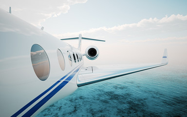Closeup of realistic photo white, luxury generic design private jet flying over the ocean.Modern airplane and  clouds in a sky on background. Business travel concept. Horizontal. 3d rendering.