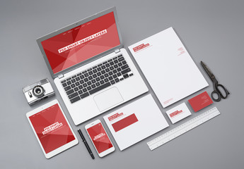 Laptop, Smartphone, and Tablet with Stationery Mockup 1
